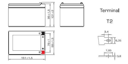 Размеры аккумулятора Powercom PM-12-12