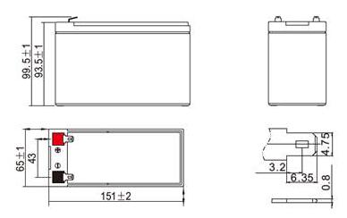 Размеры аккумулятора Powercom PM-12-6.0