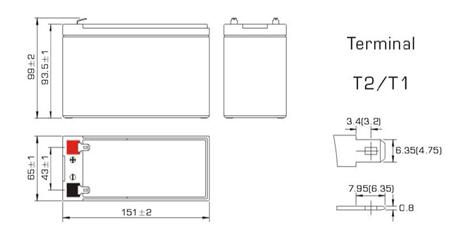 Размеры аккумулятора Powercom PM-12-7.2