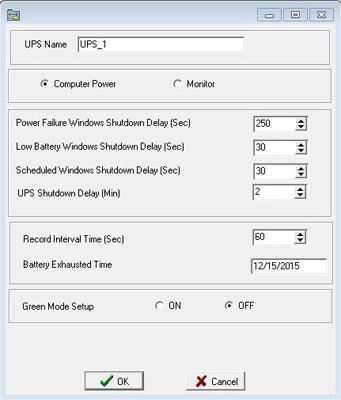 Окно конфигурации ИБП